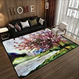 Durable Rubber Floor Mat,Country,Painting of Spring Landscape Blooming Nature Flowering Tree and Fresh Grass Nature,Pink Green 63'x 94' Non-Slip Modern Carpet