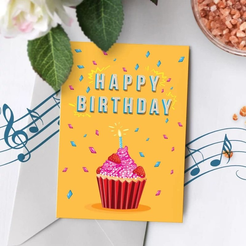 Cupcake Birthday Card With Music | Birthday Greeting Card, Recordable Birthday Card, Musical Birthday Card, Birthday Greeting Card Cupcake 00005 (10sec Recordable): Amazon.co.uk: Office Products