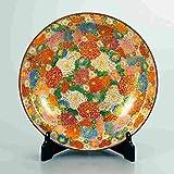 "Japanese drawn Ceramic Porcelain kutani ware with wooden box. Plateau. Big plate. Flowers."" Japanese ceramic Hagiyakiya 1207"