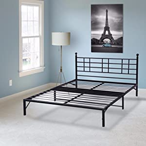 Best Price Mattress Model L Easy Set-up Steel Platform Bed Frame, Twin, Black