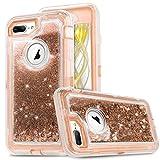 iPhone 8 Plus Case,iPhone 7 Plus Case, [VCOSI] 3D Glitter Sparkle 3-Layer Design Quicksand Liquid Cover Clear Shockproof Bumper Anti-Drop for iPhone 7 Plus/8 Plus Heavy Duty Defense Shield (Gold)
