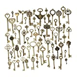 KING DO WAY 69pcs Antique Bronze Vintage Skeleton Keys Charm Set DIY Handmade Accessories Necklace Pendants Jewelry Making Supplies for Wedding Decoration Birthday and Christmas Party