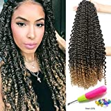 18 inch Passion Twist Crochet Hair 6 packs/lot Water Wave Crochet Braiding Hair Long Bohemian Hair for Passion Twist Ombre Pre Looped Synthetic Natural Hair Extensions Soft Lightweight (T27#)