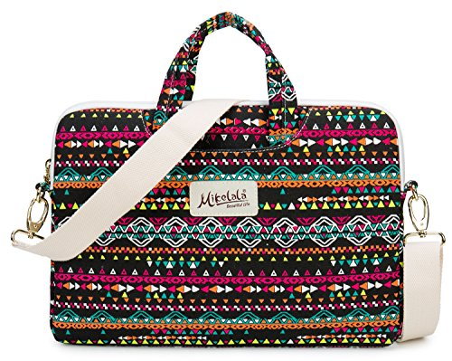 Mikelala Bohemian Style Canvas laptop shoulder messenger sleeve bag case briefcase for macbook pro air 13 and 13.3 inch laptop