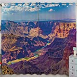 Justin Harve window Aerial View of Epic Grand Canyon Activity of River Stream Over Rock Plateau Print Bedroom Blackout Curtains Set of 2 Panels(84'x 84' Blue Tan