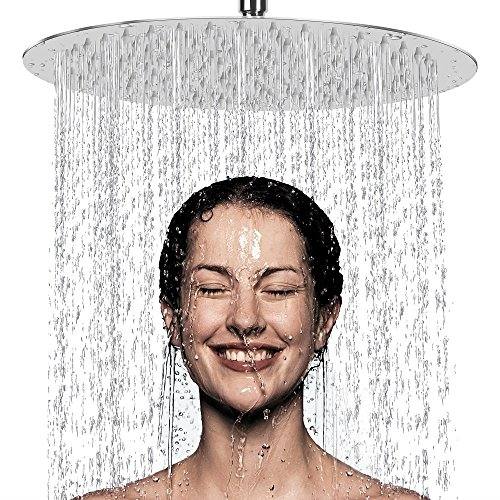 12 Inch Rain Shower Head, NearMoon High Pressure Stainless Steel Bath Shower, Ultra Thin Rainfall Showerhead Waterfall Body Covering with Silicone Nozzle and Powerful Spray Performance (12'' Round)