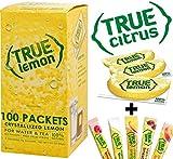 True Lemon Dispenser Pack 100ct. Plus 5 SAMPLE sticks of True Lemon Lemonade, Peach, Raspberry, Black Cherry, & Orange Mango.