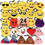 MelonBoat 24 Pack 2' Emoji Plush Keychain Mini Pillows Backpack Clips, Emoticon Emoji Birthday Party Favors Supplies, Goodie Bag Stuffers, Novelty Gifts Toys Prizes for Kids