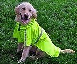 JYHY Dog Raincoat Adjustable Reflective Waterproof Lightweight Dog Rain Jacket with Hood for Small Medium Large Dogs,Green M
