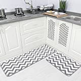 Carvapet 2 Pieces Microfiber Chevron Non-Slip Soft Kitchen Mat Bath Rug Doormat Runner Carpet Set, 17'x48'+17'x24', Grey