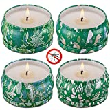 Wending Citronella Candles - Mosquito Repellent - Scented Candle - Natural Soy Wax - 4.5 Ounce x 4 Pack x 35 Hours Burn, Travel Tin Set for Summer, Indoor and Outdoor