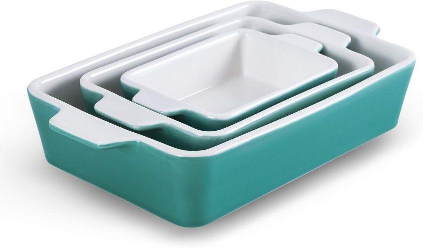 SIDUCAL Bakeware Set of 3 piece, Ceramic Baking Dishes Porcelain Baking Pans Rectangular Casserole Pan for Cooking Cake Dinner Kitchen Wrapping Upgrade