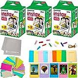 Fujifilm Instax Mini Instant Film (3 Twin Packs, 60 Total Pictures) + 60 Sticker Frames + 5 Plastic Desk Frames + 10 Paper Frames + Micro-Fiber Cleaning Cloth
