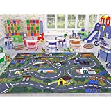 Ottomanson Jenny Collection Grey Base with Multi Colors Kids Children's Educational Road Traffic System Design(Non-Slip) Area Rug, 5'0' X 6'6', Multicolor