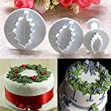 3 Pc/Set 3D Holly Leaf Leaves Cookie Plunger Cutter Fondant Sugarcraft Mold Cake Decoration Mould Baking Tools
