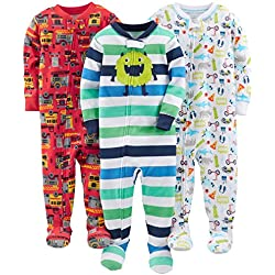 Simple Joys by Carter's Baby Boys' 3-Pack Snug Fit Footed Cotton Pajamas, Monsters/Dino/Construction, 3T