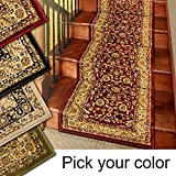 Marash Luxury Collection 25' Stair Runner Rugs Stair Carpet Runner with 336,000 Points of Fabric Per Square Meter, Red