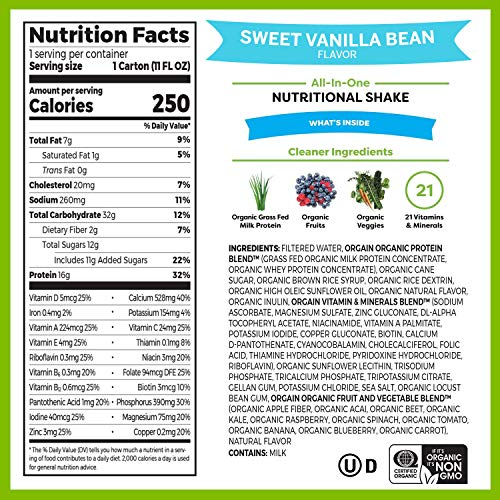 Orgain Organic Nutritional Shake, Sweet Vanilla Bean - Meal Replacement, 16g Protein, 21 Vitamins & Minerals, Gluten Free, Soy Free, Kosher, Non-GMO, 11 Ounce, 12 Count (Packaging May Vary) 2