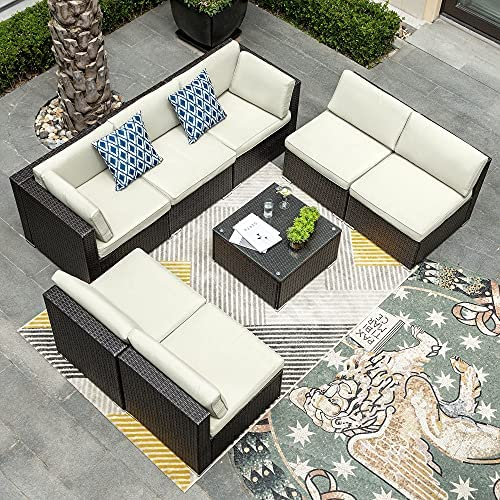 YITAHOME 8 Pieces Patio Furniture Set, Outdoor Sectional Sofa PE Rattan Wicker Conversation Set Outside Couch with Table and Cushions for Porch Lawn Garden Backyard, Black