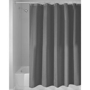 InterDesign 14685EU Schimmelresistenter Wasserabweisender Stoff-Duschvorhang 180 x 200 cm, dunkelgrau von InterDesign