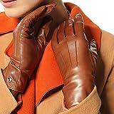 Elma Women's Touch Screen Italian Nappa Leather Winter Texting Gloves (7.5, Saddle yellow)