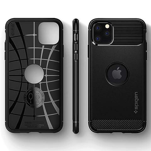 【Spigen】 iPhone 11 Pro Max ケース 6.5インチ 対応 TPU 米軍MIL規格取得 耐衝撃 衝撃吸収 傷防止 カメラ保護 Qi充電 ワイヤレス充電 ラギッド・アーマー 075CS27133 (マット・ブラック)