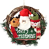 D-FantiX 14 inch Merry Christmas Wreath Decor, Small Grapevine Wreath Front Door Wreaths (Reindeer Snowman Santa Claus)
