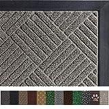 Gorilla Grip Original Durable Rubber Door Mat (29 x 17) Heavy Duty Doormat, Indoor Outdoor, Waterproof, Easy Clean, Low-Profile Mats for Entry, Garage, Patio, High Traffic Areas (Gray Diamond)