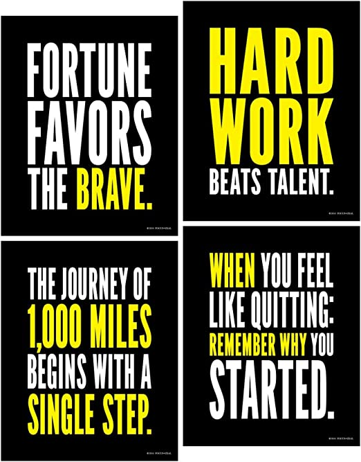 Amazon Com Focus And Zeal Hard Work Inspirational Posters Motivational Success Determination And Goal Quotes 8x10 Inches Set Of 4 Posters Prints