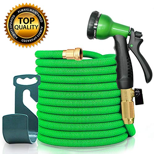 sicall 50ft Expandable Garden Hose, All New Hose Set with Solid Brass Fittings, Extra Strength Fabric, Flexible Expanding Hose with 8 Function Spray Nozzles, Free Storage Hook Included