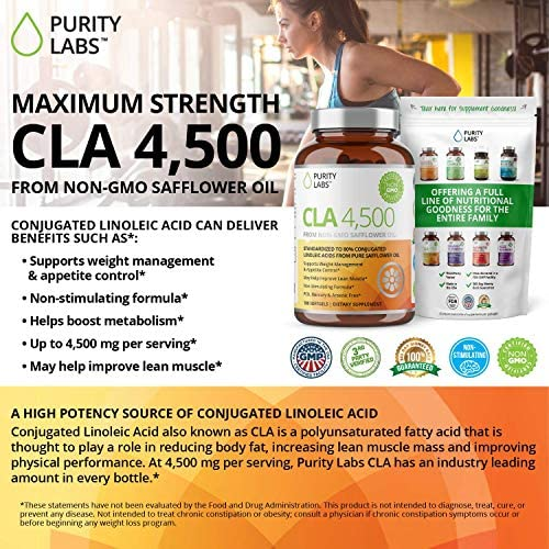 Purity Labs CLA 4,500MG Safflower Oil Number One Weight Loss Fat Burner Supplement 180 Softgels Non-GMO & Gluten Free Conjugated Linoleic Acid Pills Belly Fat Burner 5