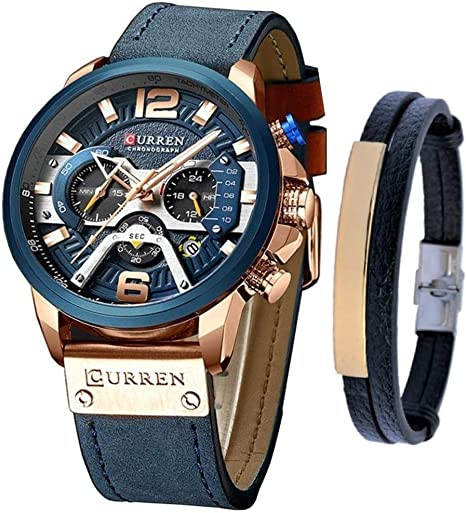 Father's Day In The Same Week As Prime Day! CURREN Watches Men Quartz Leather Chronograph Watch and Fashion  Bracelet Set Blue Watches for Men Luxury Wristwatch Gifts (Blue): Watches-