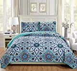 Fancy Linen 3pc Twin/Twin Extra Long Bedspread Quilt Set Over Size Bed Cover with Flowers Turquoise Navy Blue Grey White New
