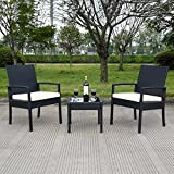 ModHaus Living Modern 3 Piece Rattan Patio Set with Seat Cushioned and Glass Tabletop - Includes Pen