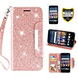 LG Stylo 3 Case, Stylo 3 Plus Wallet Case, Stylus 3 Case,[ with Screen Protector], TPU + Leather Flip Bling Glitter Wallet Case with Kickstand Credit Card Holder Slot for Girls/Women, Rose Gold