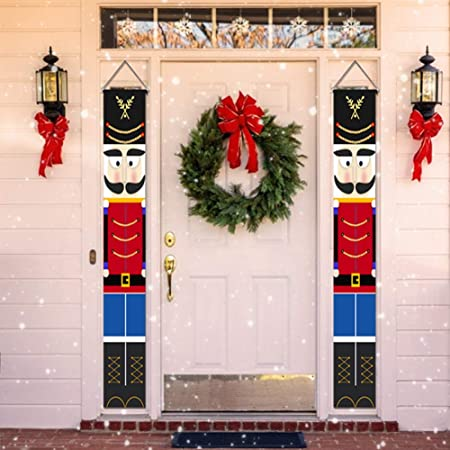 Meanwell Nutcracker Christmas Decorations Outdoor Xmas Decor Life Size Soldier Model Nutcracker Banners For Front Door Porch Garden Indoor Exterior Kids Party Yard Gate 1 Pair 32x180cm Amazon Co Uk Kitchen