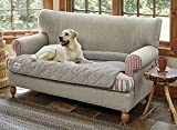 Orvis Grip-Tight Quilted Furniture Protector with Zip-Off Bolster/Only Sofa Protector, Shale,