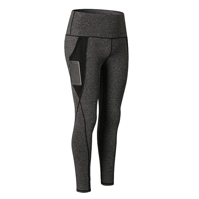 Liuz High Waisted Yoga Pants with Pocket, Tummy Control Workout Running 4 Way Stretch Yoga Leggings(Grey)(XL)