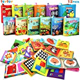 My First Soft Book,TEYTOY Nontoxic Fabric Baby Cloth Activity Crinkle Soft Books for Infants Boys and Girls Early Educational Toys Baby Shower Gift (Pack of 12)