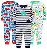 Simple Joys by Carter's Baby Boys' 3-Pack Snug Fit Footless Cotton Pajamas, Fire Truck/Dino/Animals Green/Green, 12 Months