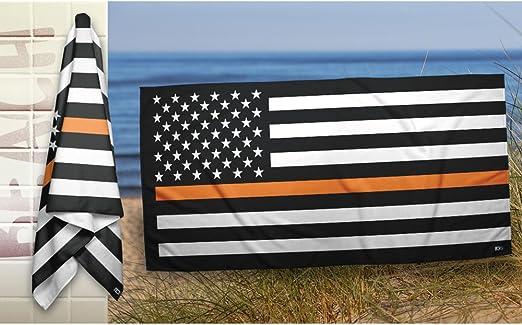 Black white orange american flag