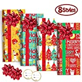 8 Pack Christmas Gift Card Holders Boxes with Bows, Holographic Holiday Design Candy Gift Boxes for Xmas Party Favor