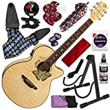 Luna Fauna Butterfly Quilt Maple Acoustic-Electric Guitar with Guitar Stand and Deluxe Bundle