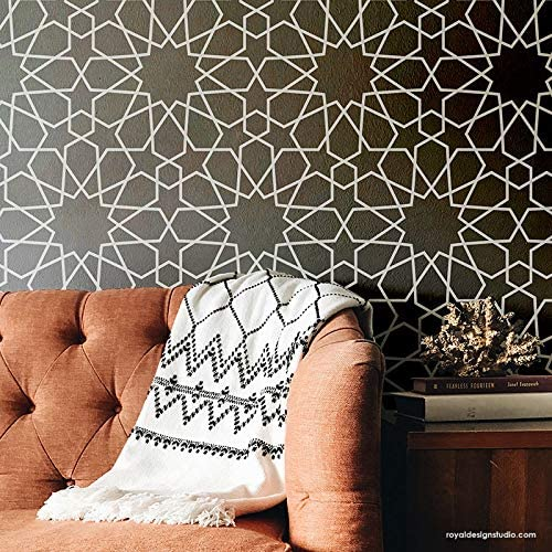 Amazon Com Royal Design Studio Stencils Moroccan Geometry Wall Stencil Or Floor Stencil Geometric Pattern For Painting And Decorating Home Kitchen