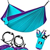 Legit Camping Double Hammock - Lightweight Parachute Portable Hammocks for Hiking, Travel, Backpacking, Beach, Yard Gear Includes Nylon Straps & Steel Carabiners (Violet/Turquoise)