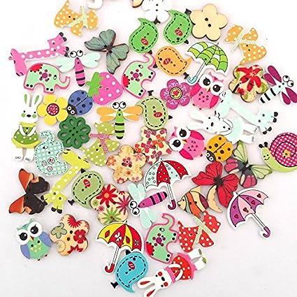 Mkishine 100 Pz Coloratissimi Bottoni Legno Decorativi