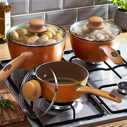 Homiu-Copper-Pots-With-Lids--6-7-9in-Three-Piece-Set--Two-Layer-Non-Stick-Coating-Gas-Electric-And-Induction-Hob-Safe--Bakelite-Rubber-Handle--Aluminium-Alloy-009In-Thick