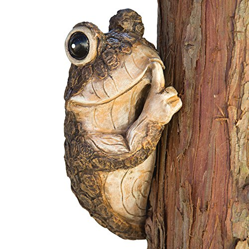 Bits and Pieces – Keep Quiet Frog Tree Peeker – Durable Polyresin Animal Tree-Hugger Sculpture – Lawn and Garden Outdoor Décor Statue