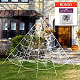 Halloween Giant Spider Web, Super Stretch Cobweb Set, Halloween Decorations Outdoor Yard Spooky Decor, 16 feet, White