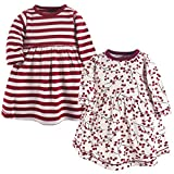 Touched by Nature Baby Girls' Organic Cotton Dress, Berry Branch Long Sleeve 2-Pack, 12-18 Months (18M)